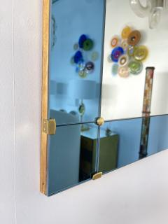 Cristal Art Mirror Blue and Brass by Cristal Art Italy 1960s - 1919077