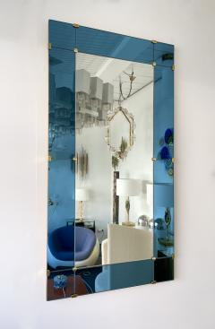Cristal Art Mirror Blue and Brass by Cristal Art Italy 1960s - 1919078