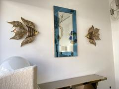 Cristal Art Mirror Blue and Brass by Cristal Art Italy 1960s - 1919079