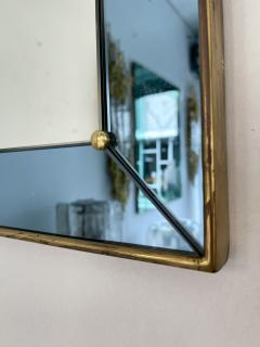 Cristal Art Mirror Blue and Brass by Cristal Art Italy 1960s - 2017300