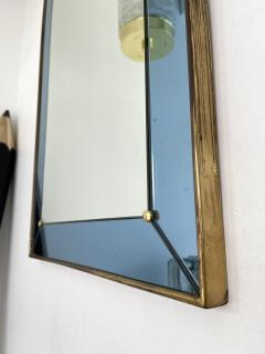 Cristal Art Mirror Blue and Brass by Cristal Art Italy 1960s - 2017301