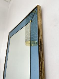 Cristal Art Mirror Blue and Brass by Cristal Art Italy 1960s - 2017302