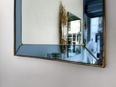 Cristal Art Mirror Blue and Brass by Cristal Art Italy 1960s - 2017303