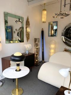 Cristal Art Mirror Blue and Brass by Cristal Art Italy 1960s - 2017304