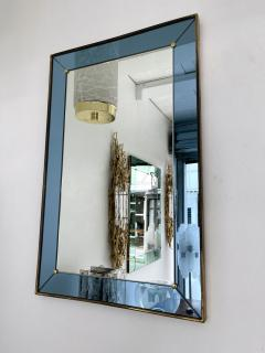 Cristal Art Mirror Blue and Brass by Cristal Art Italy 1960s - 2017307