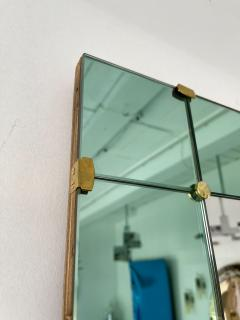Cristal Art Mirror Green and Brass by Cristal Art Italy 1960s - 2017249