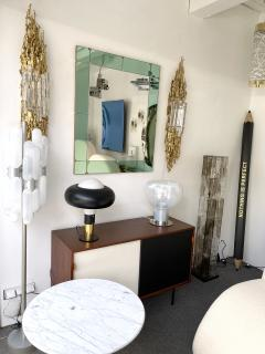 Cristal Art Mirror Green and Brass by Cristal Art Italy 1960s - 2017253