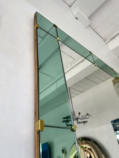 Cristal Art Mirror Green and Brass by Cristal Art Italy 1960s - 2017255