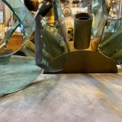 Cristal Arte 1950s Pair of Mid Century Modern Cristal Art Green Glass and Brass Wall Sconces - 2052889