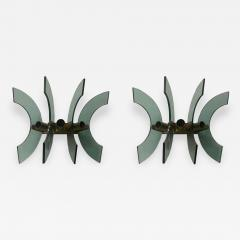 Cristal Arte 1950s Pair of Mid Century Modern Cristal Art Green Glass and Brass Wall Sconces - 2053710