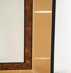 Cristal Arte Italian 1950s Cristal Arte Amber Rose Gold Glass and Burl Wood Mirror - 2090943
