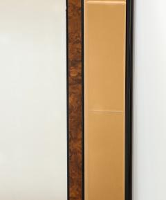 Cristal Arte Italian 1950s Cristal Arte Amber Rose Gold Glass and Burl Wood Mirror - 2090945