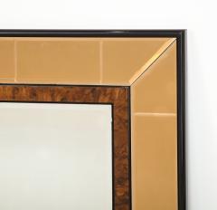 Cristal Arte Italian 1950s Cristal Arte Amber Rose Gold Glass and Burl Wood Mirror - 2090946