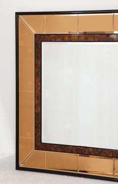 Cristal Arte Italian 1950s Cristal Arte Amber Rose Gold Glass and Burl Wood Mirror - 2090949