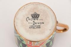 Crown Devon Art Deco Crown Devon Orient Coffee Set with Mappin Webb Silver Gilt Spoons - 2043585