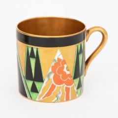Crown Devon Art Deco Crown Devon Orient Coffee Set with Mappin Webb Silver Gilt Spoons - 2043586