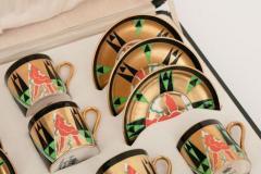 Crown Devon Art Deco Crown Devon Orient Coffee Set with Mappin Webb Silver Gilt Spoons - 2043591