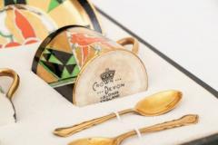 Crown Devon Art Deco Crown Devon Orient Coffee Set with Mappin Webb Silver Gilt Spoons - 2043592