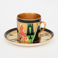 Crown Devon Art Deco Orient Coffee Cup Saucer by Crown Devon - 2043576