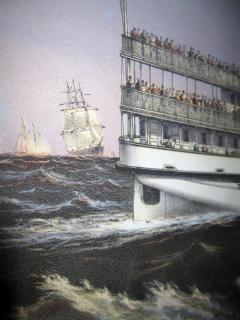 Currier and Ives 19th Century Currier and Ives Colored Lithographed Nautical Print - 738607