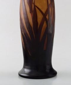 D argental Large art nouveau vase in cameo glass with reed and flowers - 1322093