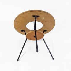 DUMAS PINGUET Pedestal table in black steel and oakwood by Dumas Pinguet circa 1950 - 2090686