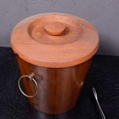 Dansk Mid Century Modern Walnut Wood Ice Bucket with Stainless Steel Tongs 1960s - 1342287