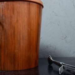 Dansk Mid Century Modern Walnut Wood Ice Bucket with Stainless Steel Tongs 1960s - 1342288