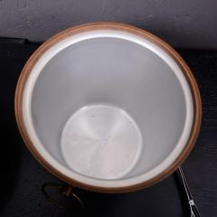 Dansk Mid Century Modern Walnut Wood Ice Bucket with Stainless Steel Tongs 1960s - 1342289