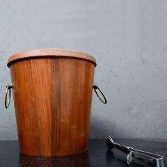 Dansk Mid Century Modern Walnut Wood Ice Bucket with Stainless Steel Tongs 1960s - 1342290