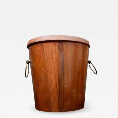 Dansk Mid Century Modern Walnut Wood Ice Bucket with Stainless Steel Tongs 1960s - 1344393