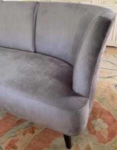 Darren Ransdell Design Gray Velvet Sofa with Back Detailing - 1675350
