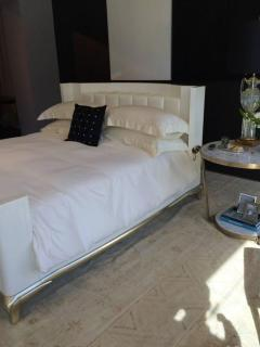 Darren Ransdell Design King Sized Hollywood Regency Style Bed with Radius Headboard and White Gold Leaf - 1345365