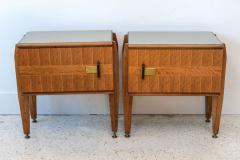 Dassi Pair of Italian Modern Inlaid Mixed Wood and Bronze Night Tables Dassi - 396822