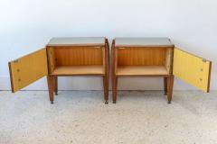 Dassi Pair of Italian Modern Inlaid Mixed Wood and Bronze Night Tables Dassi - 396823