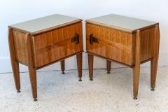 Dassi Pair of Italian Modern Inlaid Mixed Wood and Bronze Night Tables Dassi - 396825