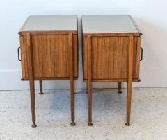 Dassi Pair of Italian Modern Inlaid Mixed Wood and Bronze Night Tables Dassi - 396828