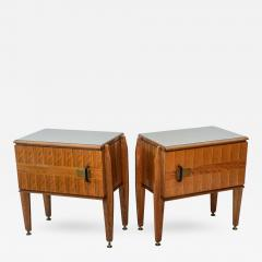 Dassi Pair of Italian Modern Inlaid Mixed Wood and Bronze Night Tables Dassi - 403262