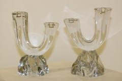 Daum Daum France Two Arm Crystal Candle Holders - 904817