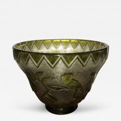 Daum Daum Nancy Bird Art Deco Acid Etched French Monumental Museum Glass - 242066