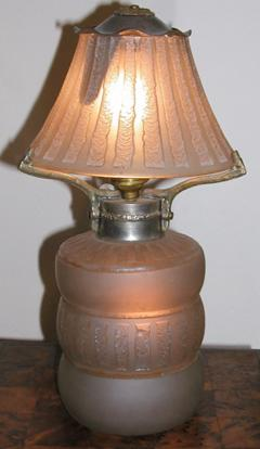 Daum French Acid Etched Art Deco Table Lamp - 123590