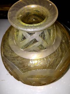 Daum French Art Deco Modernist Glass Vase with Deep Thick Acid Etched Circles - 127735