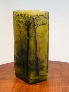 Daum SUPERB DAUM NANCY CAMEO CARVED FOREST VASE - 1059278