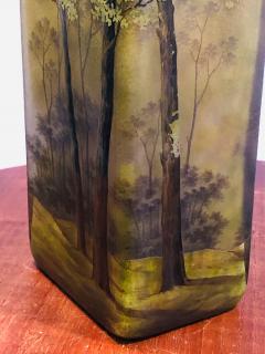 Daum SUPERB DAUM NANCY CAMEO CARVED FOREST VASE - 1059279