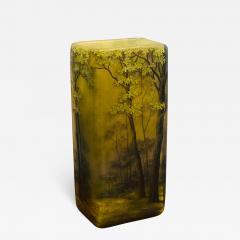 Daum SUPERB DAUM NANCY CAMEO CARVED FOREST VASE - 1059984