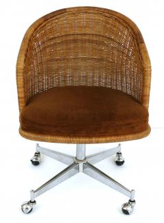 Daystrom Mid century Rattan Stainless Steel Swivel Chairs Daystrom Furniture Set of 6 - 1105680