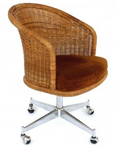 Daystrom Mid century Rattan Stainless Steel Swivel Chairs Daystrom Furniture Set of 6 - 1105685