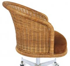 Daystrom Mid century Rattan Stainless Steel Swivel Chairs Daystrom Furniture Set of 6 - 1105689