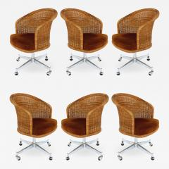 Daystrom Mid century Rattan Stainless Steel Swivel Chairs Daystrom Furniture Set of 6 - 1106896