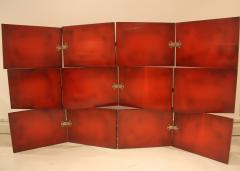 De Coene Vintage Red Lacquered Three Tier Screen by De Coene Freres - 662907